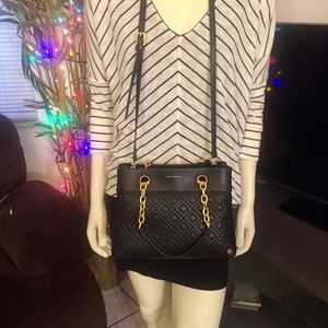 Tory Burch Quilted Black Leather Fleming Crossbody